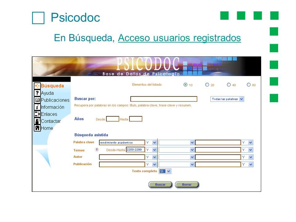 c Psicodoc En Búsqueda, Acceso usuarios registrados