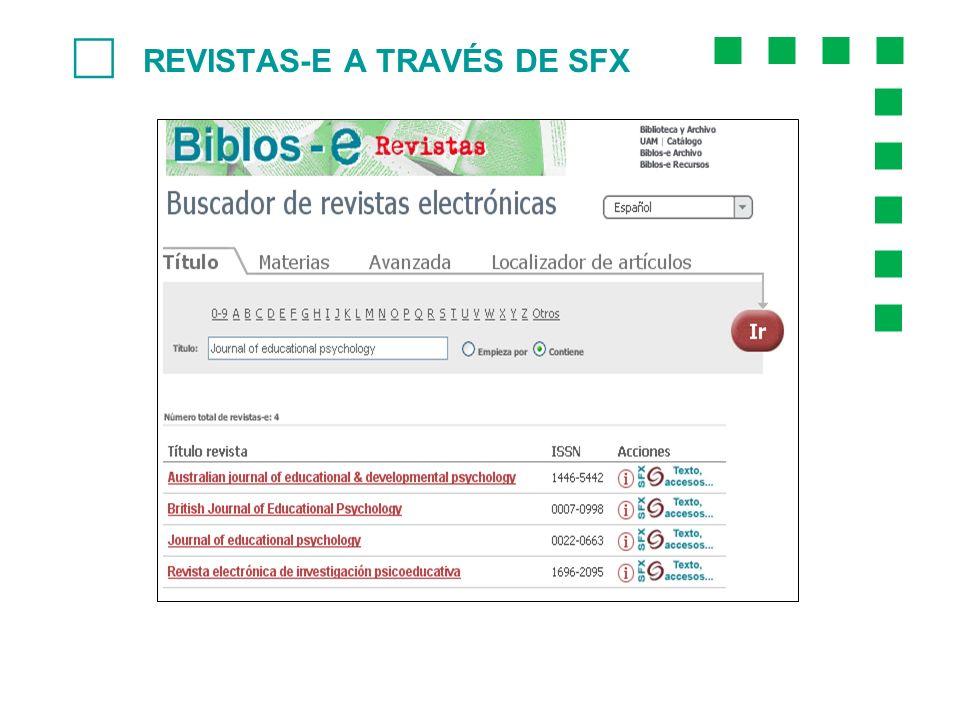 REVISTAS-E A TRAVÉS DE SFX