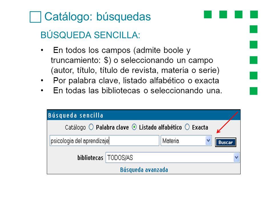 Catálogo: búsquedas BÚSQUEDA SENCILLA: