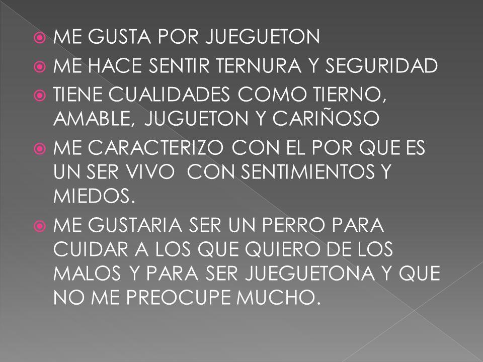 ME GUSTA POR JUEGUETON ME HACE SENTIR TERNURA Y SEGURIDAD. TIENE CUALIDADES COMO TIERNO, AMABLE, JUGUETON Y CARIÑOSO.