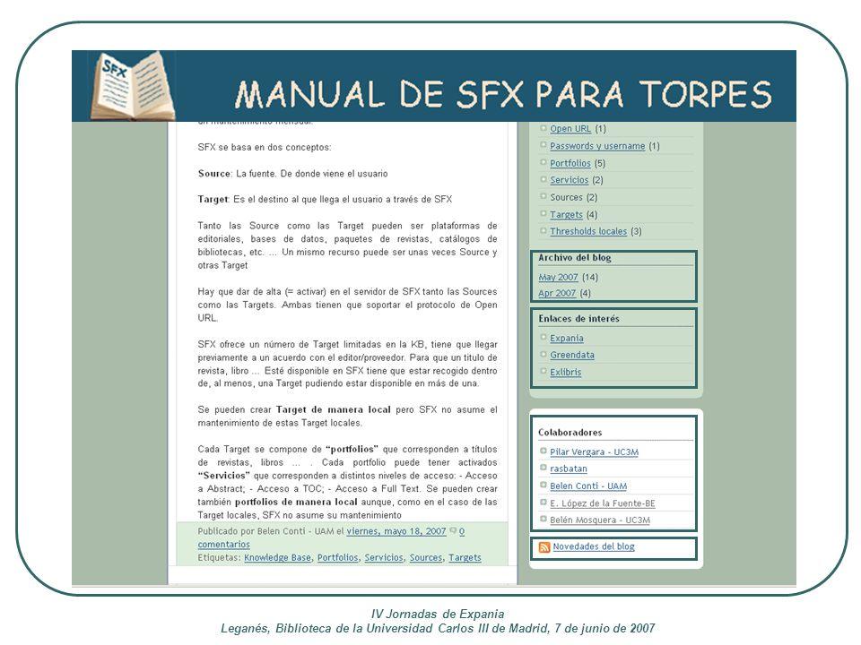 IV Jornadas de Expania Leganés, Biblioteca de la Universidad Carlos III de Madrid, 7 de junio de 2007.