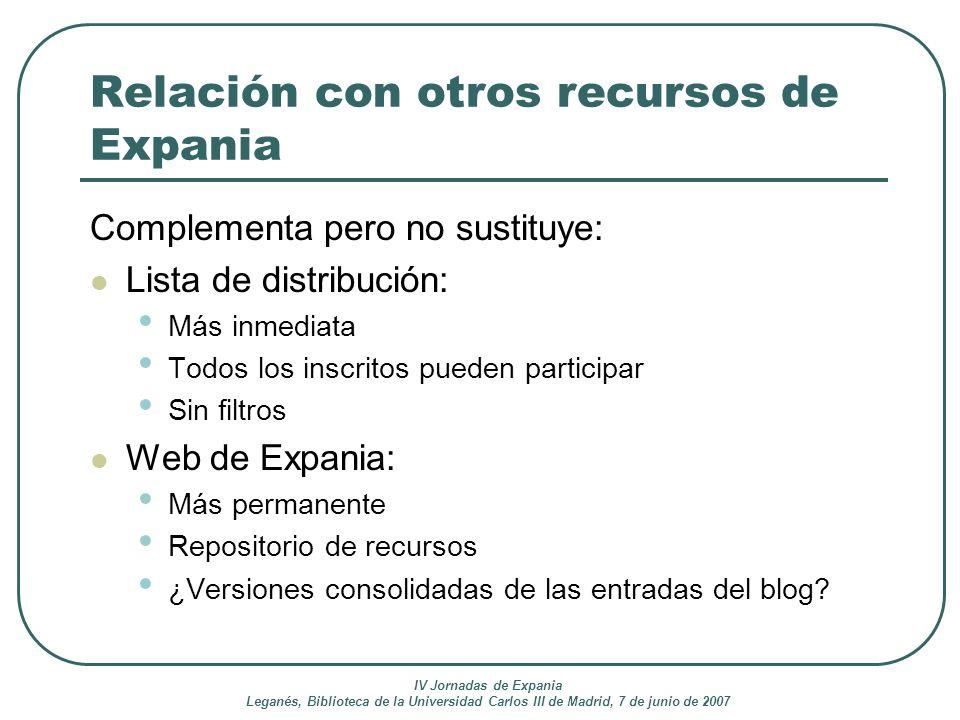 Relación con otros recursos de Expania