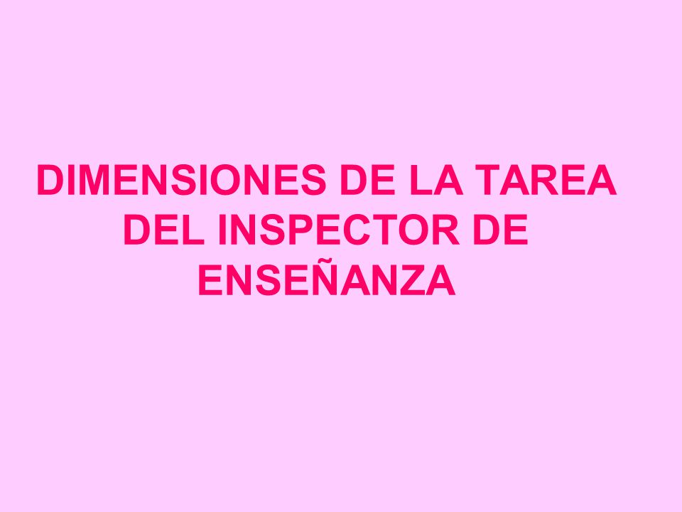 DIMENSIONES DE LA TAREA DEL INSPECTOR DE ENSEÑANZA