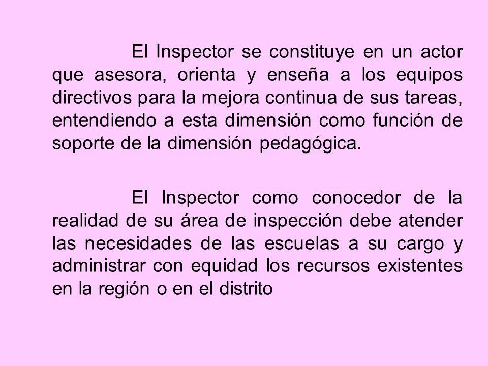 El Inspector se constituye en un actor que asesora, orienta y enseña a los equipos directivos para la mejora continua de sus tareas, entendiendo a esta dimensión como función de soporte de la dimensión pedagógica.