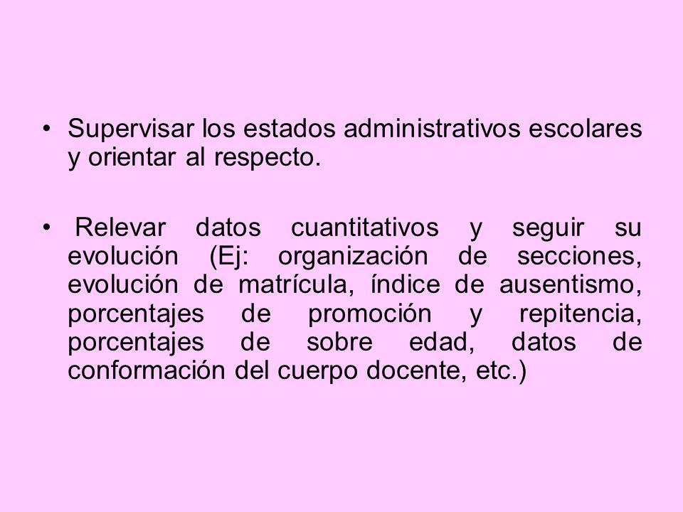 Supervisar los estados administrativos escolares y orientar al respecto.