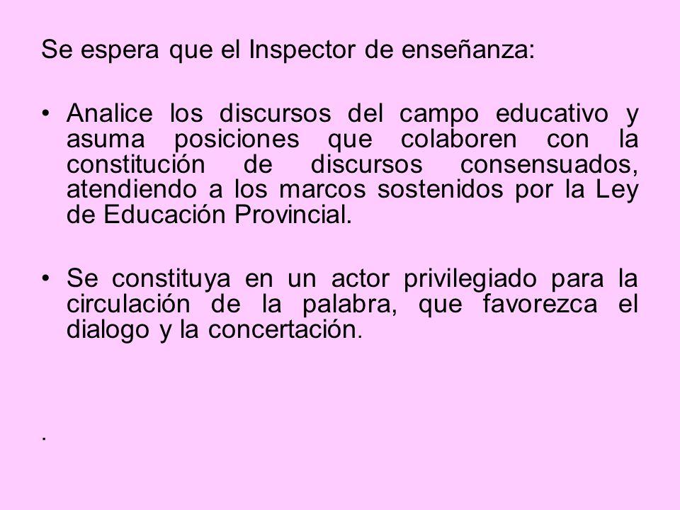 Se espera que el Inspector de enseñanza: