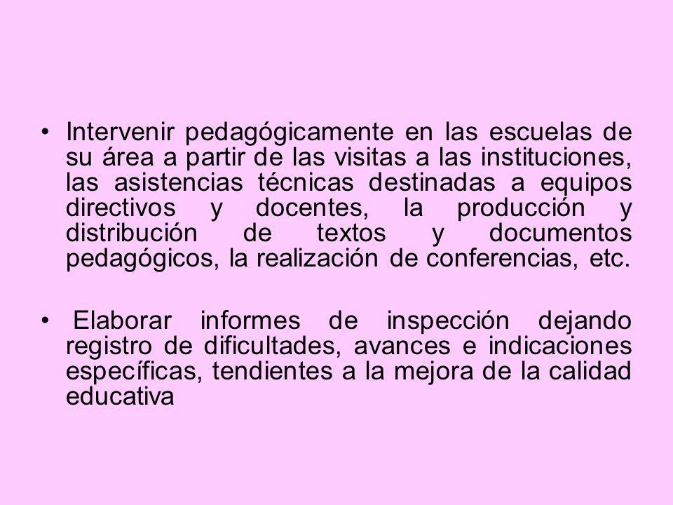 Intervenir pedagógicamente en las escuelas de su área a partir de las visitas a las instituciones, las asistencias técnicas destinadas a equipos directivos y docentes, la producción y distribución de textos y documentos pedagógicos, la realización de conferencias, etc.