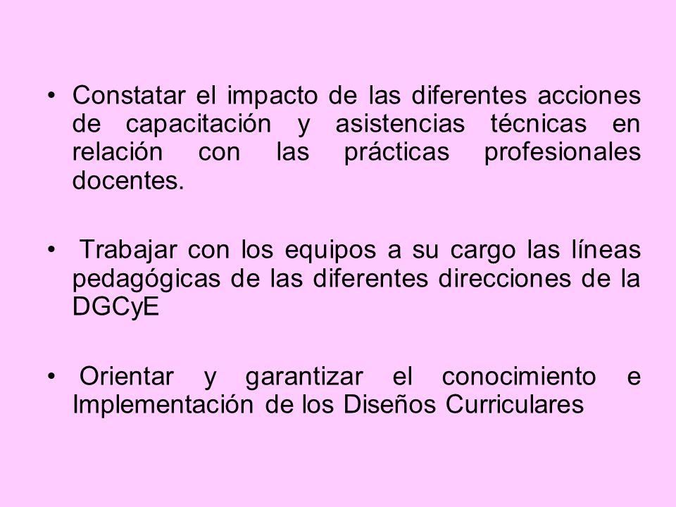 Constatar el impacto de las diferentes acciones de capacitación y asistencias técnicas en relación con las prácticas profesionales docentes.