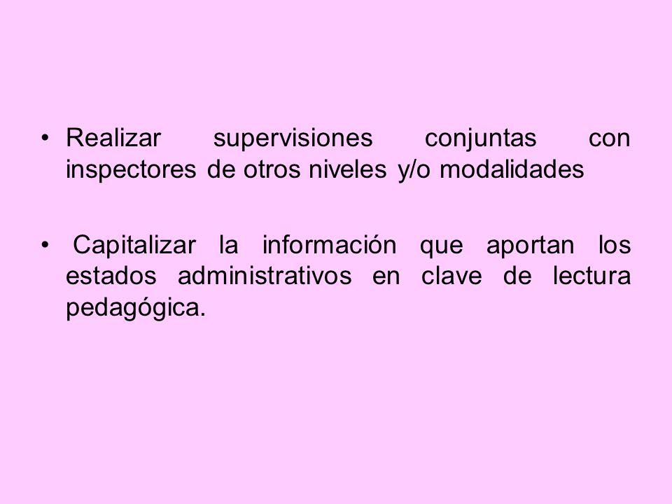 Realizar supervisiones conjuntas con inspectores de otros niveles y/o modalidades