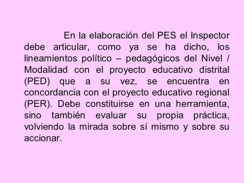En la elaboración del PES el Inspector debe articular, como ya se ha dicho, los lineamientos político – pedagógicos del Nivel / Modalidad con el proyecto educativo distrital (PED) que a su vez, se encuentra en concordancia con el proyecto educativo regional (PER).