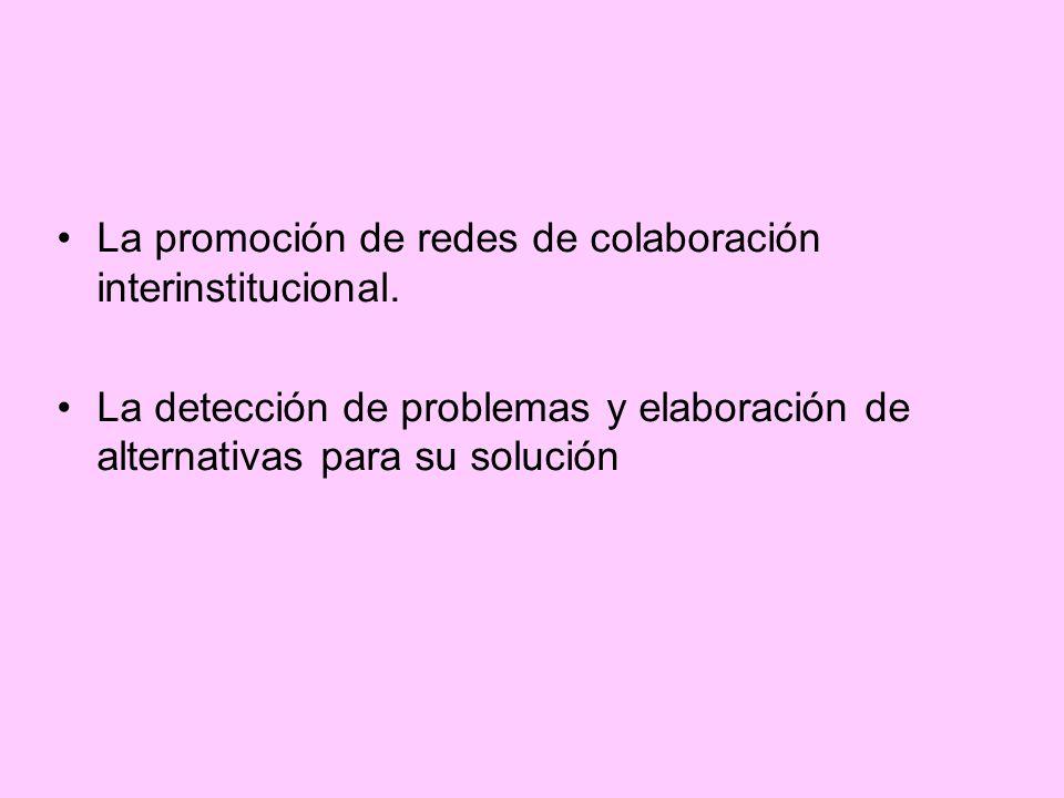La promoción de redes de colaboración interinstitucional.