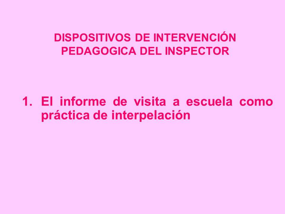 DISPOSITIVOS DE INTERVENCIÓN PEDAGOGICA DEL INSPECTOR