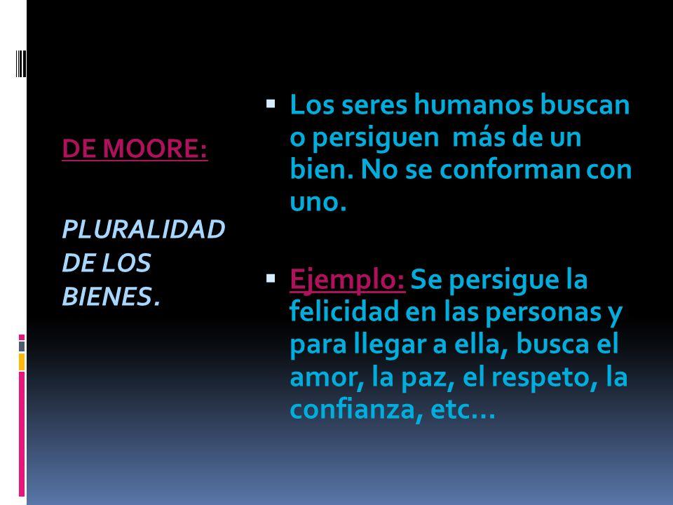 DE MOORE: PLURALIDAD DE LOS BIENES. Los seres humanos buscan o persiguen más de un bien. No se conforman con uno.