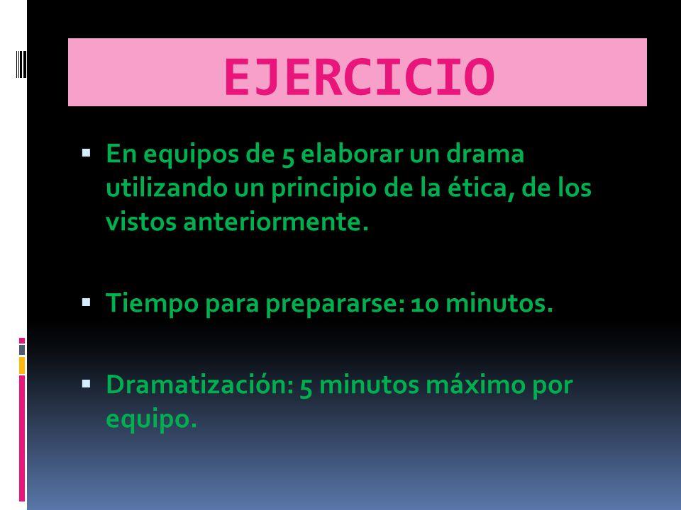 EJERCICIO En equipos de 5 elaborar un drama utilizando un principio de la ética, de los vistos anteriormente.