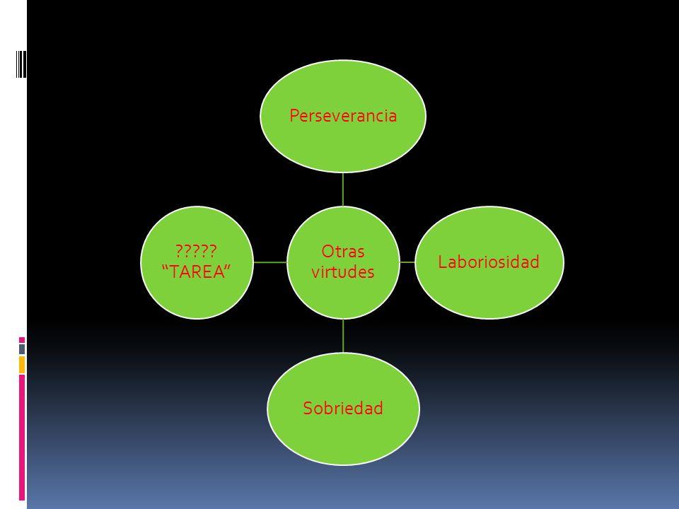 Otras virtudes Perseverancia Laboriosidad Sobriedad TAREA