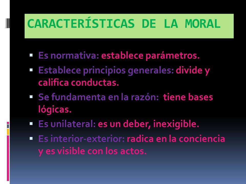 CARACTERÍSTICAS DE LA MORAL