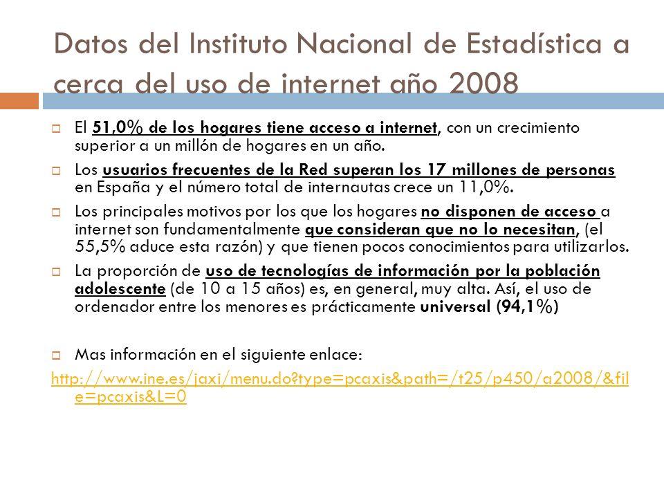 Datos del Instituto Nacional de Estadística a cerca del uso de internet año 2008