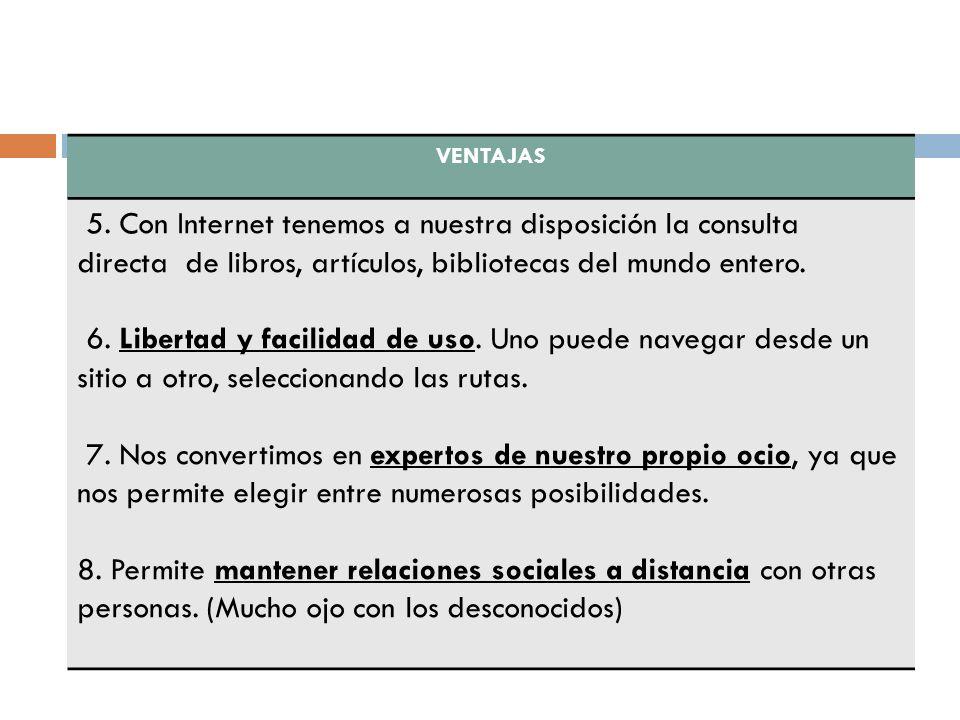 VENTAJAS 5. Con Internet tenemos a nuestra disposición la consulta directa de libros, artículos, bibliotecas del mundo entero.