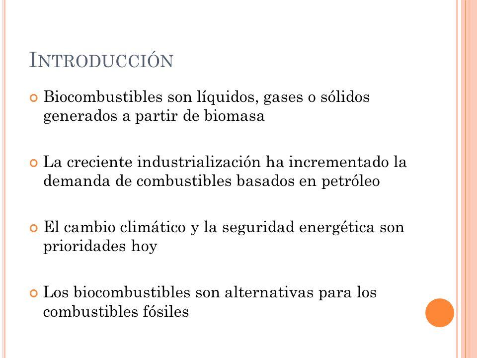 Introducción Biocombustibles son líquidos, gases o sólidos generados a partir de biomasa.