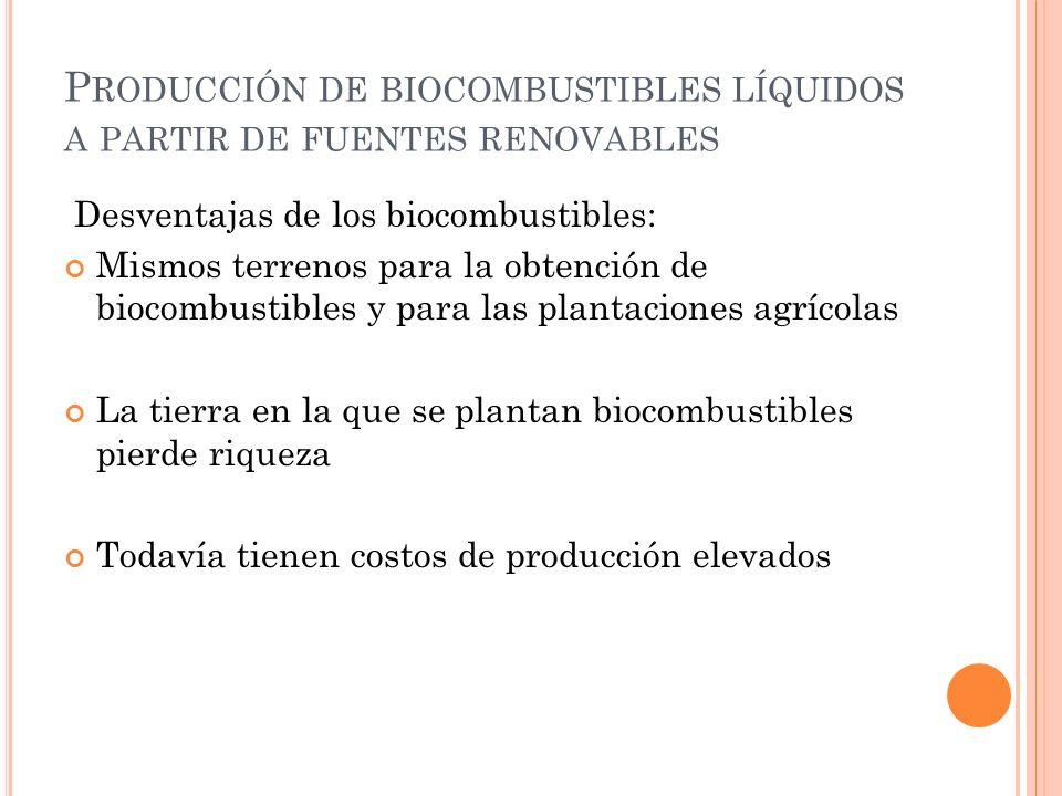 Producción de biocombustibles líquidos a partir de fuentes renovables