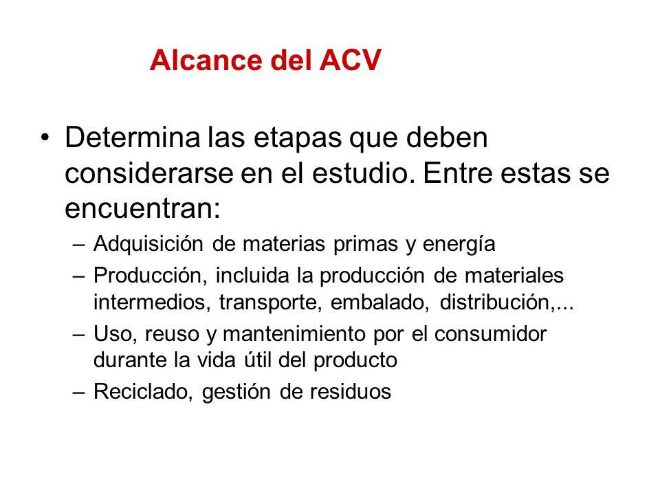 Alcance del ACV Determina las etapas que deben considerarse en el estudio. Entre estas se encuentran: