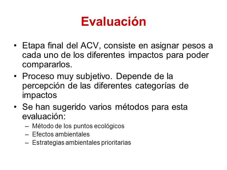 Evaluación Etapa final del ACV, consiste en asignar pesos a cada uno de los diferentes impactos para poder compararlos.