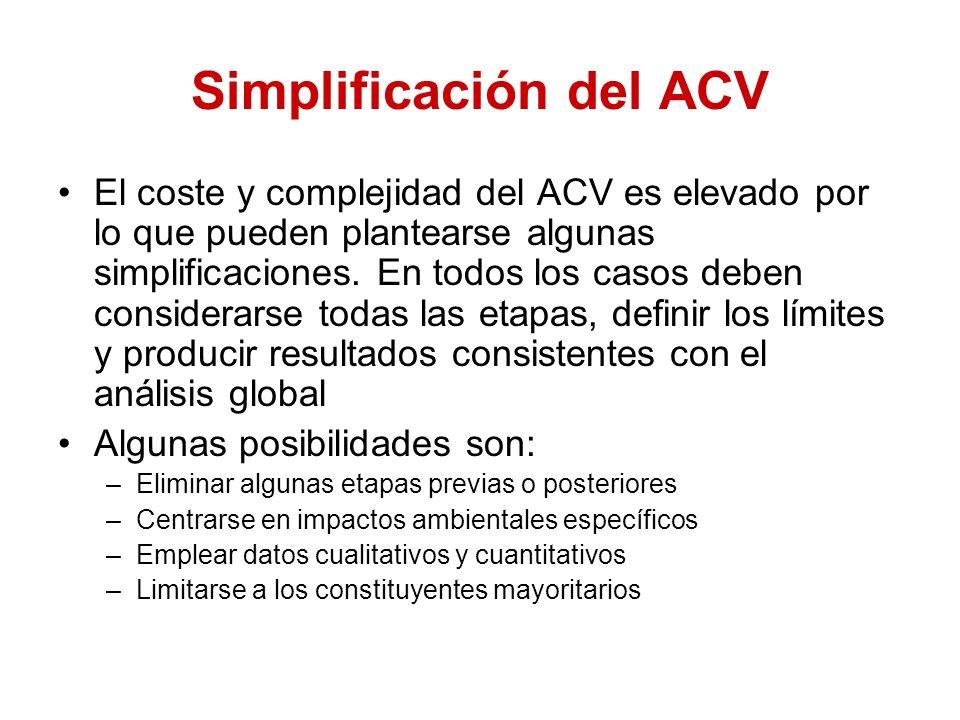 Simplificación del ACV