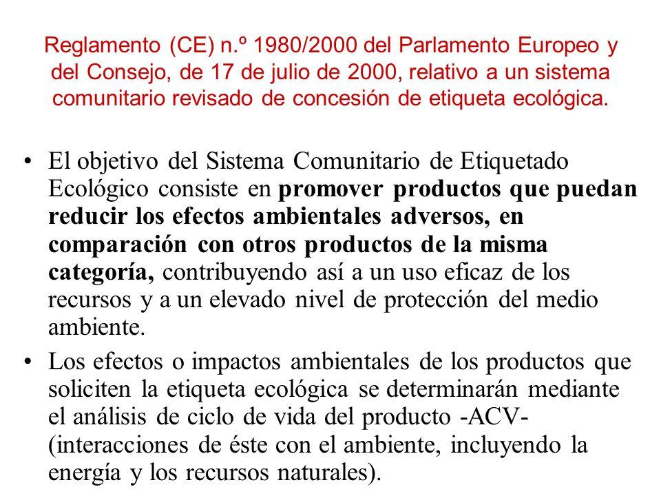 Reglamento (CE) n.º 1980/2000 del Parlamento Europeo y del Consejo, de 17 de julio de 2000, relativo a un sistema comunitario revisado de concesión de etiqueta ecológica.