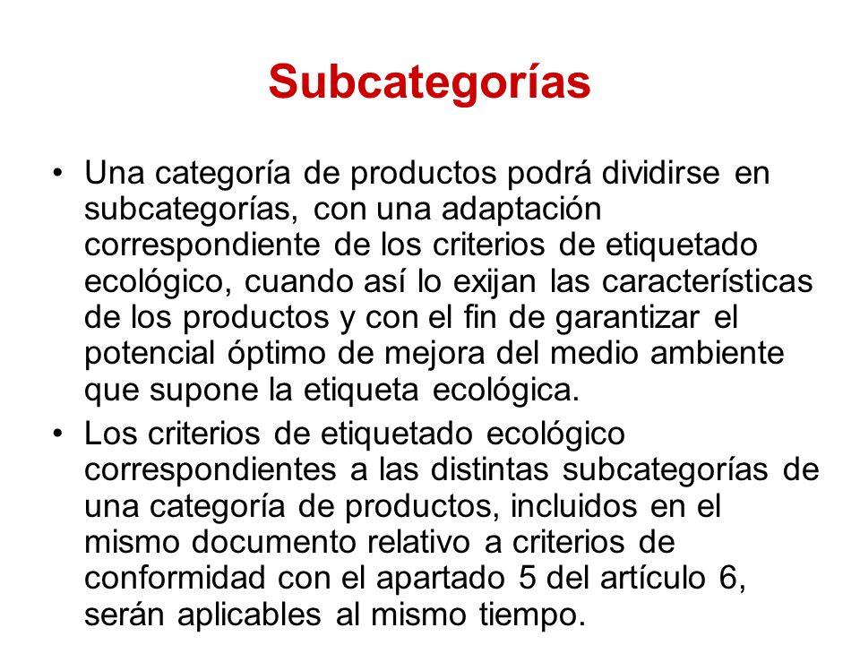 Subcategorías