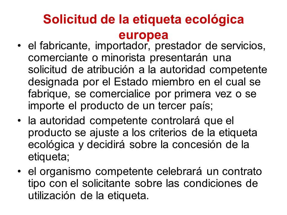 Solicitud de la etiqueta ecológica europea