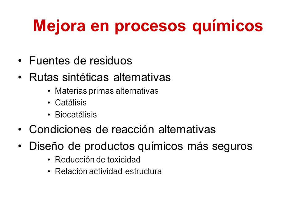 Mejora en procesos químicos