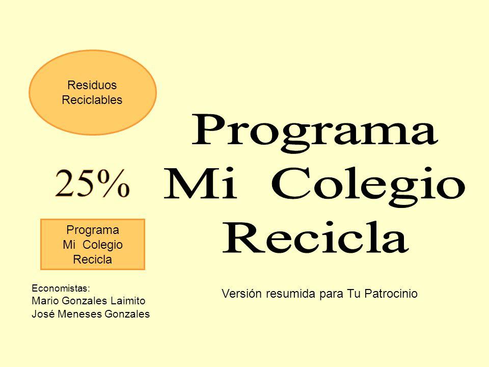 Programa Mi Colegio Recicla 25% Residuos Reciclables Programa
