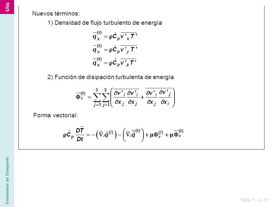 Nuevos términos: 1) Densidad de flujo turbulento de energía. 2) Función de disipación turbulenta de energía.
