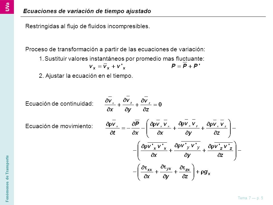 Ecuaciones de variación de tiempo ajustado
