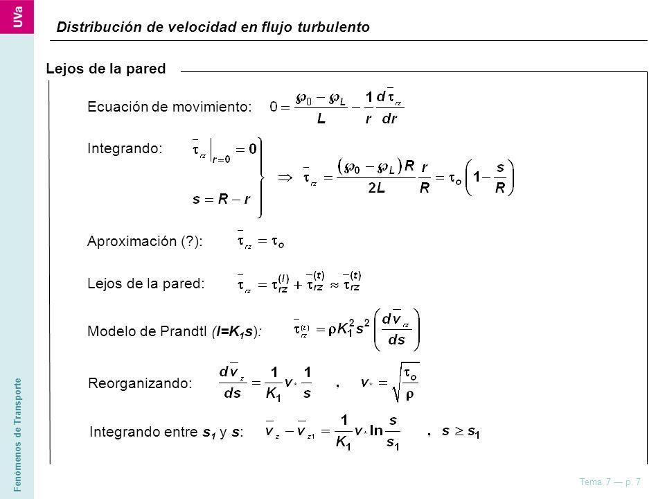 Distribución de velocidad en flujo turbulento