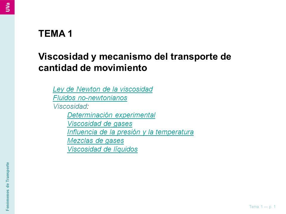 Viscosidad y mecanismo del transporte de cantidad de movimiento