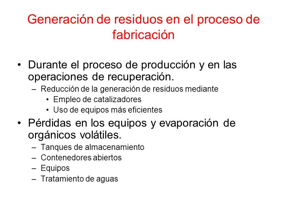 Generación de residuos en el proceso de fabricación
