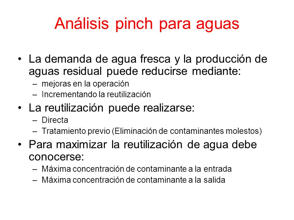 Análisis pinch para aguas