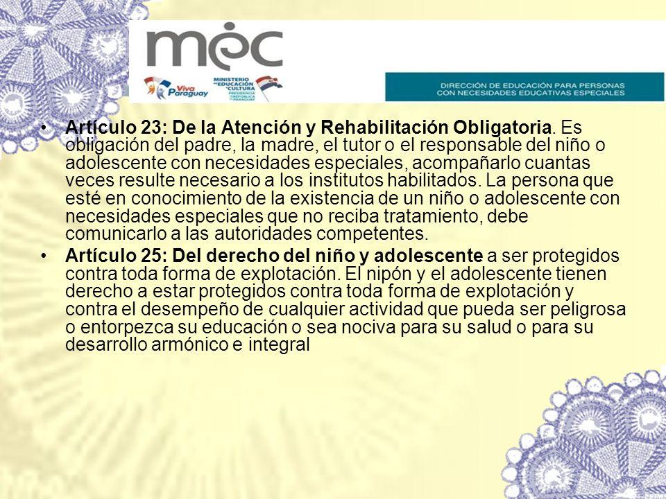 Artículo 23: De la Atención y Rehabilitación Obligatoria