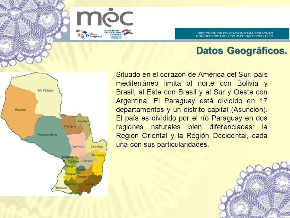 Situado en el corazón de América del Sur, país mediterráneo limita al norte con Bolivia y Brasil, al Este con Brasil y al Sur y Oeste con Argentina. El Paraguay está dividido en 17 departamentos y un distrito capital (Asunción). El país es dividido por el río Paraguay en dos regiones naturales bien diferenciadas: la Región Oriental y la Región Occidental, cada una con sus particularidades.