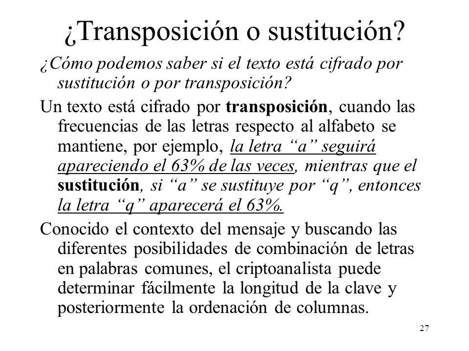 ¿Transposición o sustitución