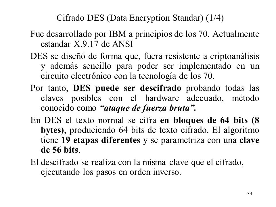 Cifrado DES (Data Encryption Standar) (1/4)