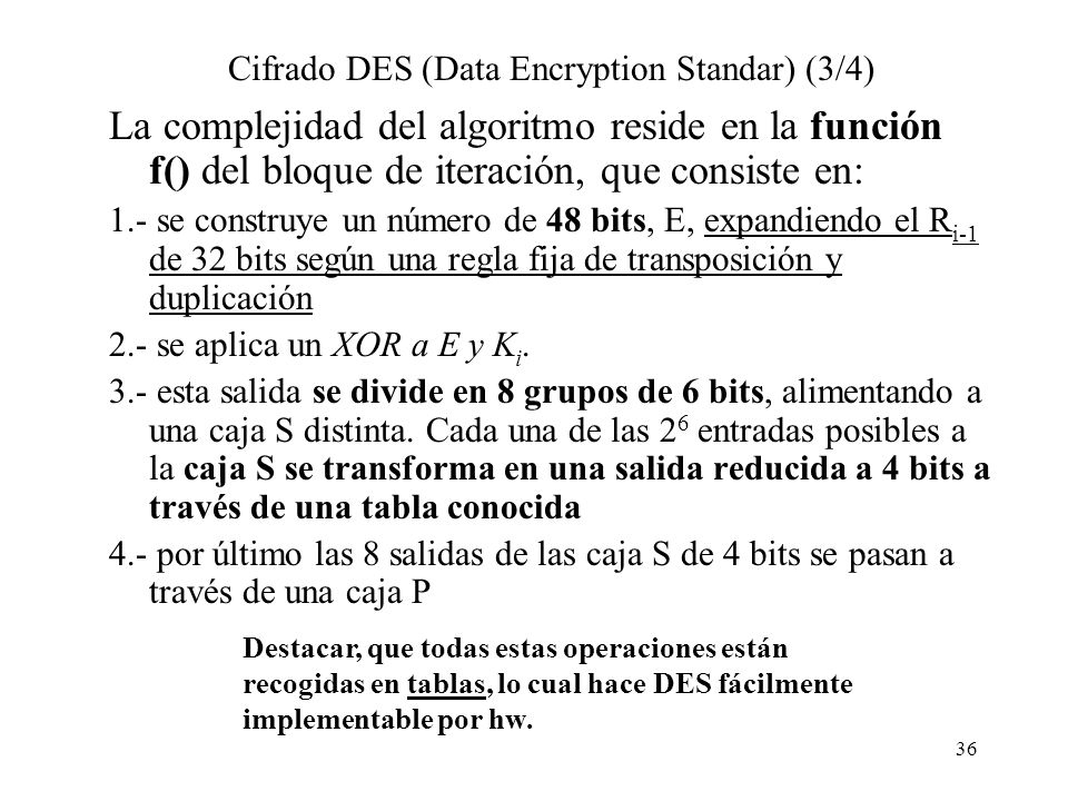 Cifrado DES (Data Encryption Standar) (3/4)