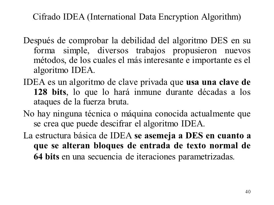 Cifrado IDEA (International Data Encryption Algorithm)