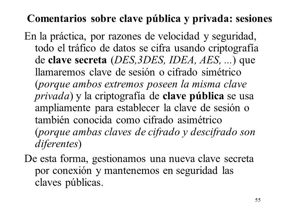 Comentarios sobre clave pública y privada: sesiones