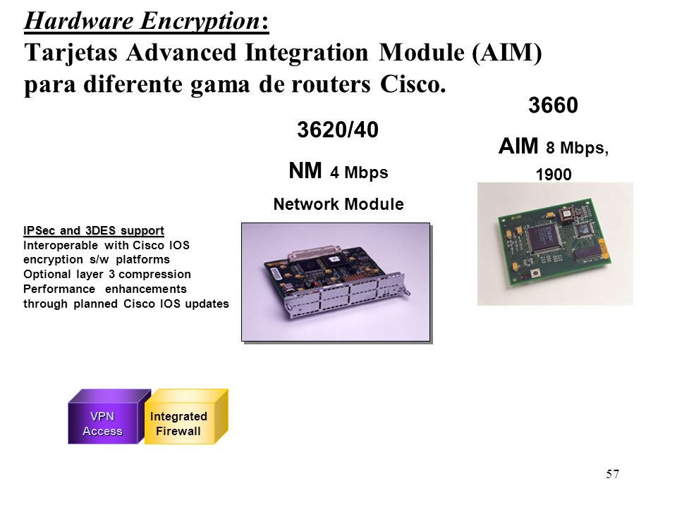 Hardware Encryption: Tarjetas Advanced Integration Module (AIM) para diferente gama de routers Cisco.