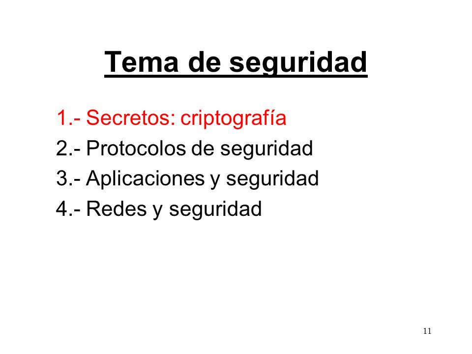 Tema de seguridad 1.- Secretos: criptografía