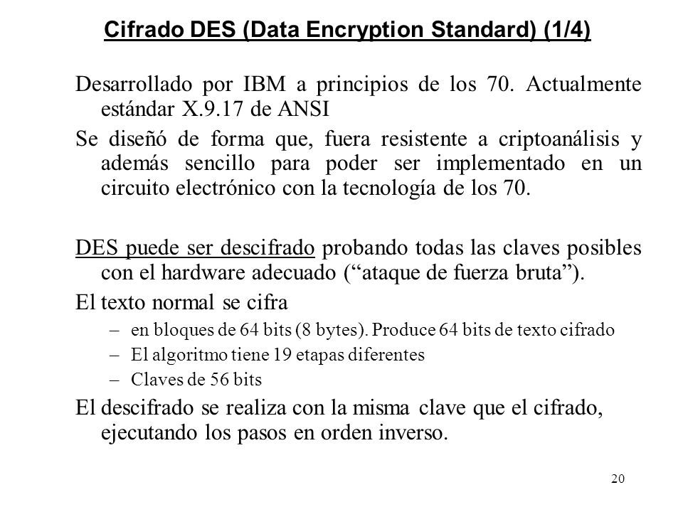 Cifrado DES (Data Encryption Standard) (1/4)