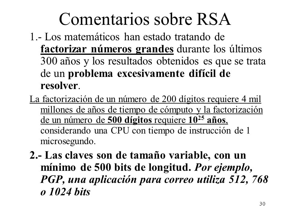 Comentarios sobre RSA