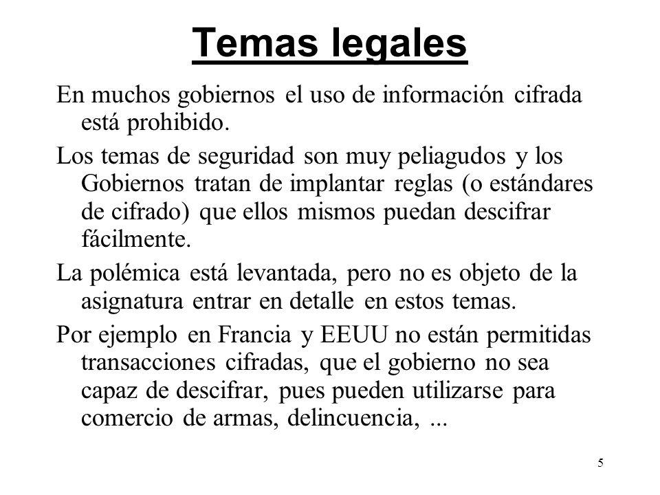 Temas legalesEn muchos gobiernos el uso de información cifrada está prohibido.